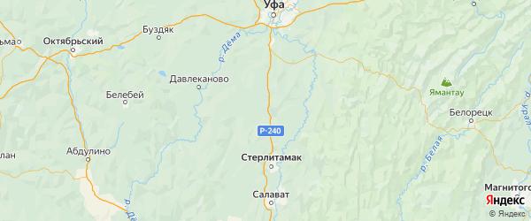 Карта Аургазинского района Республики Башкортостана с городами и населенными пунктами