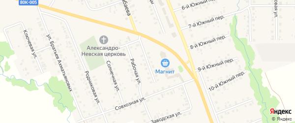 Придорожная улица на карте села Верхние Татышлы Башкортостана с номерами домов
