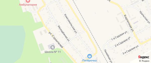 Комсомольская улица на карте поселка Оверята с номерами домов