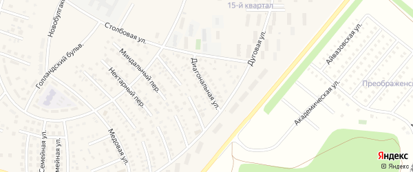 Диагональная улица на карте села Булгаково с номерами домов