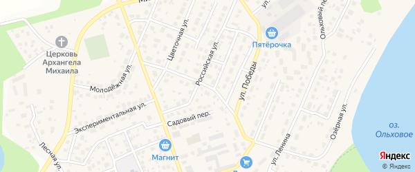 Цветочный переулок на карте села Михайловки Башкортостана с номерами домов