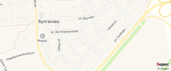 Интернациональная улица на карте села Булгаково Башкортостана с номерами домов