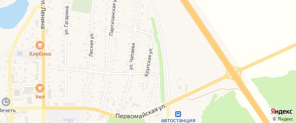 Крупская улица на карте села Толбазы Башкортостана с номерами домов