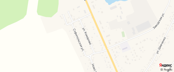 Улица Комарова на карте села Толбазы с номерами домов