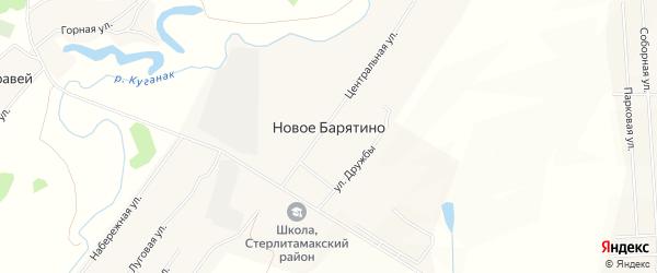 Карта села Новое Барятино в Башкортостане с улицами и номерами домов