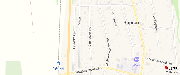 Элеваторная улица на карте села Зиргана с номерами домов