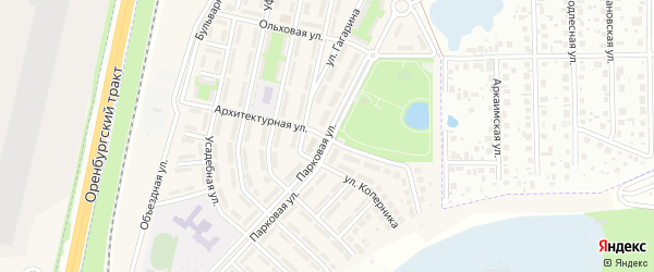 Парковая улица на карте села Чесноковки с номерами домов