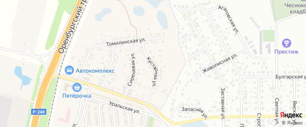 Кустарная улица на карте села Чесноковки Башкортостана с номерами домов