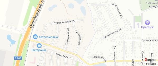 Кустарная улица на карте села Чесноковки с номерами домов