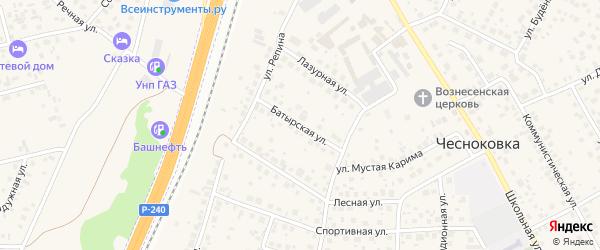 Батырская улица на карте села Чесноковки с номерами домов