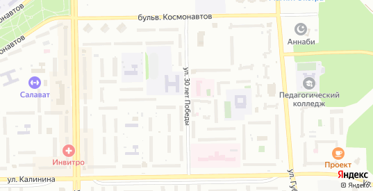 Улица 30 лет Победы в Салавате с номерами домов на карте. Спутник и схема онлайн