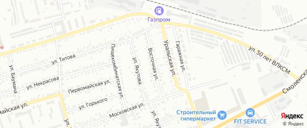 Восточная улица на карте Мелеуза с номерами домов