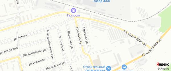 Гаражная улица на карте Мелеуза с номерами домов