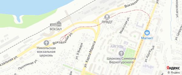 Казачий переулок на карте Уфы с номерами домов