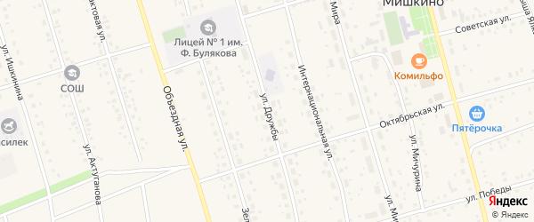Улица Дружбы на карте села Мишкино с номерами домов