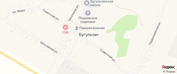 Первомайская улица на карте села Бугульчана Башкортостана с номерами домов