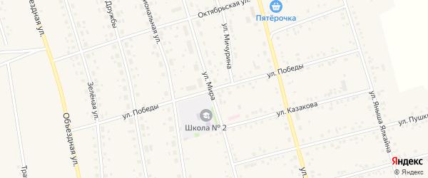 Улица 70 лет Победы на карте села Мишкино Башкортостана с номерами домов