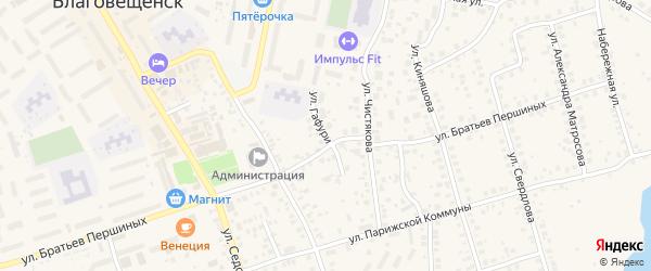 Улица Гафури на карте Благовещенска с номерами домов