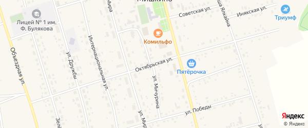 Октябрьская улица на карте села Мишкино с номерами домов