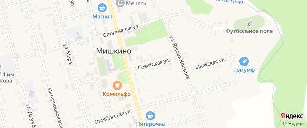 Советская улица на карте села Мишкино с номерами домов