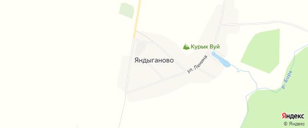 Карта деревни Яндыганово в Башкортостане с улицами и номерами домов