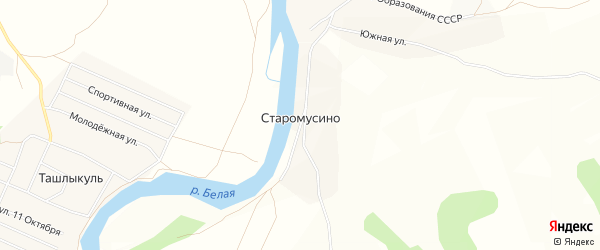 Карта деревни Старомусино в Башкортостане с улицами и номерами домов