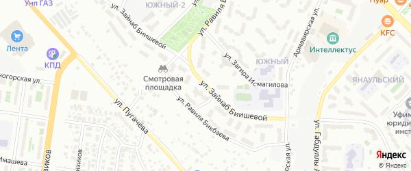 Улица Зайнаб Биишевой на карте Уфы с номерами домов
