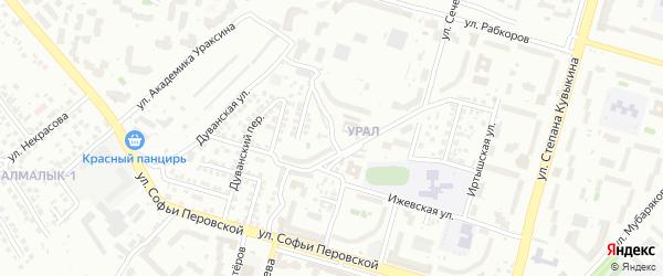 Абзановский 1-й переулок на карте Уфы с номерами домов