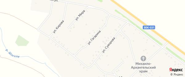 Улица Гагарина на карте села Ильтеряково Башкортостана с номерами домов