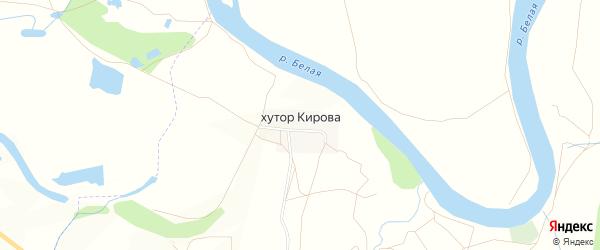 Карта хутора Кирова в Башкортостане с улицами и номерами домов