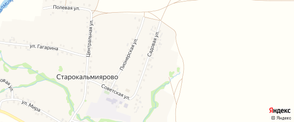 Садовая улица на карте села Старокальмиярово с номерами домов