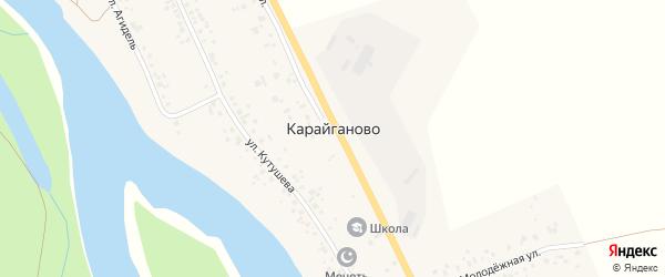 Урожайная улица на карте деревни Карайганово Башкортостана с номерами домов