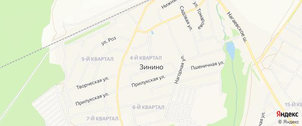 Карта деревни Зинино города Уфы в Башкортостане с улицами и номерами домов