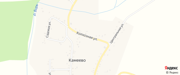 Колхозная улица на карте села Камеево Башкортостана с номерами домов