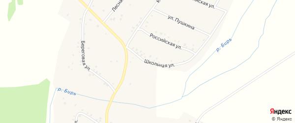 Школьная улица на карте села Камеево Башкортостана с номерами домов