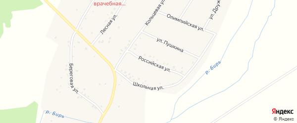 Российская улица на карте села Камеево с номерами домов