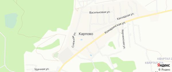 Карта деревни Карпово города Уфы в Башкортостане с улицами и номерами домов