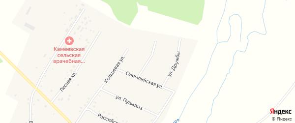 Солнечная улица на карте села Камеево Башкортостана с номерами домов