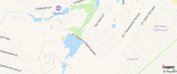 Луговая улица на карте села Нагаево с номерами домов