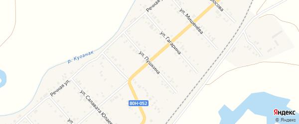 Улица Пушкина на карте села Большого Куганака Башкортостана с номерами домов