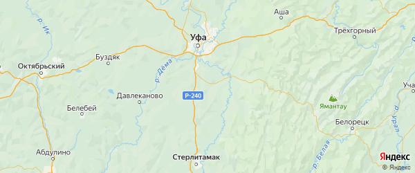 Карта Кармаскалинского района Республики Башкортостана с городами и населенными пунктами