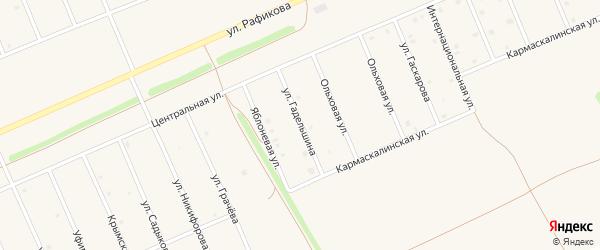 Улица Гадельшина на карте села Кармаскалы Башкортостана с номерами домов