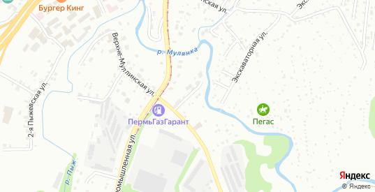 Верхнемуллинский переулок в Перми с номерами домов на карте. Спутник и схема онлайн