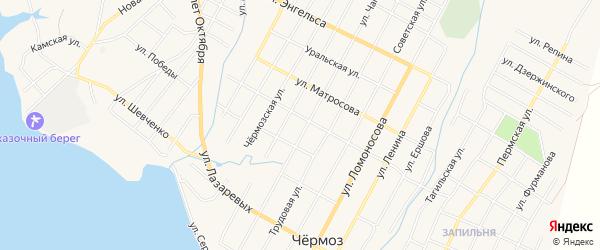 Карта территории Бородино урочища города Чермоза в Пермском крае с улицами и номерами домов