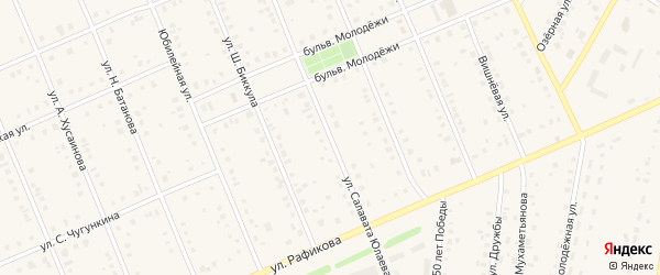 Улица С.Юлаева на карте села Кармаскалы с номерами домов