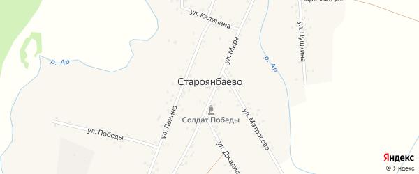Улица Калинина на карте деревни Староянбаево Башкортостана с номерами домов
