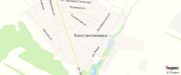 Карта деревни Константиновки в Башкортостане с улицами и номерами домов