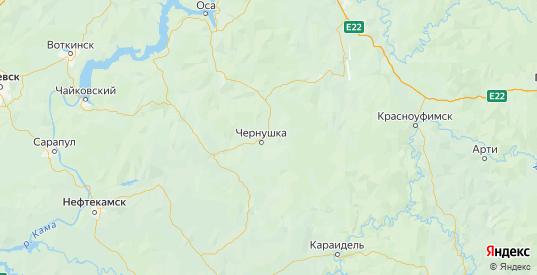 Карта Чернушинского района Пермского края с городами и населенными пунктами