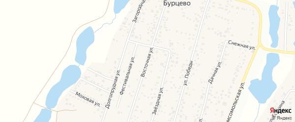 Восточная улица на карте деревни Бурцево с номерами домов