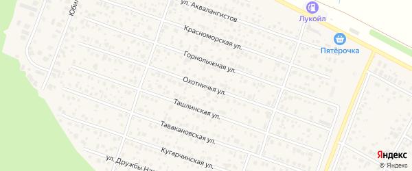 Охотничья улица на карте села Акбердино с номерами домов